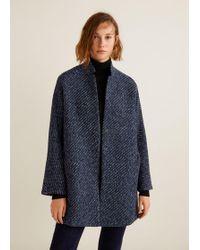 Mango - Flecked Textured Coat - Lyst