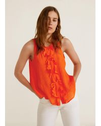 Mango - Ruffled Texture Top - Lyst