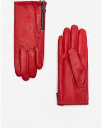 Mango - Zip Leather Gloves - Lyst