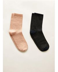 Mango - Pack 2 Metallic Socks - Lyst