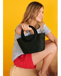 Violeta by Mango - Raffia Tote Bag - Lyst