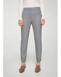 Mango | Gingham Check Pattern Trousers | Lyst
