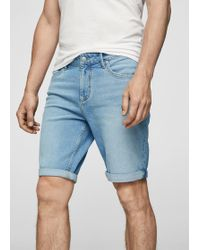 Mango - Light Wash Denim Bermuda Shorts - Lyst