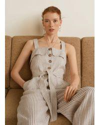 Mango - Linen-blend Striped Jumpsuit - Lyst