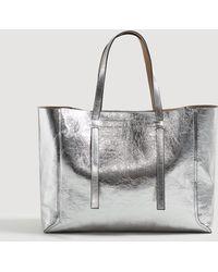 Mango - Metallic-effect Shopper Bag - Lyst