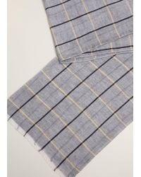 Mango - Checked Linen Cotton Scarf - Lyst