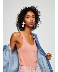Mango - Organic Cotton Strap T-shirt - Lyst