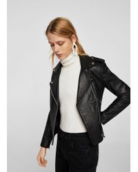 Mango - Leather Biker Jacket - Lyst