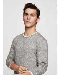 Mango - Flecked Cotton-blend T-shirt - Lyst