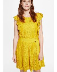 Violeta by Mango - Belted Lace Dress - Lyst
