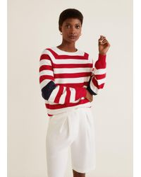 Mango - Tricolor Cotton-blend Sweater - Lyst