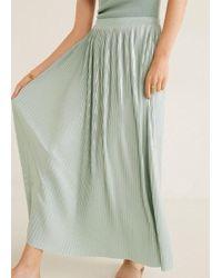 9ae23b72c9 Mango Metallic Pleated Skirt in Natural - Lyst