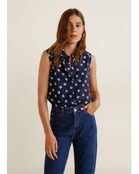Mango - Sleeveless Print Shirt - Lyst