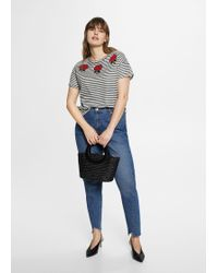Violeta by Mango - Embroidery Striped T-shirt - Lyst