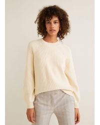 Mango - Puffed Sleeves Ribbed Jumper - Lyst