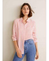 Mango - Striped Textured Shirt - Lyst