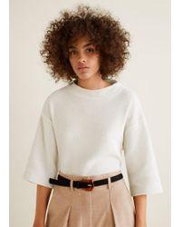 Mango - Textured Cotton-blend Jumper - Lyst