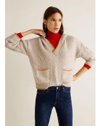 Mango - Hooded Knit Jumper - Lyst