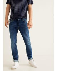 Mango - Slim-fit Faded Dark Wash Tim Jeans - Lyst