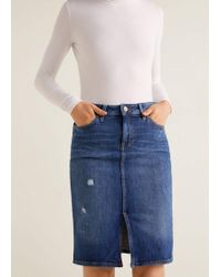 Mango - Slit Denim Skirt - Lyst