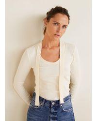 Mango - Bow V-neckline T-shirt - Lyst