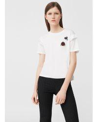 Mango - Ruffled Detail T-shirt - Lyst