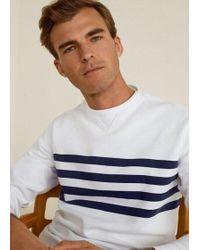6beb3d60d Mango - Striped Cotton-blend Sweatshirt White - Lyst