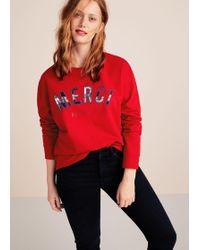 Violeta by Mango - Organic Cotton Messages Sweatshirt - Lyst