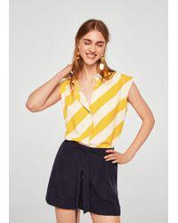 Mango - Flowy Striped Blouse - Lyst