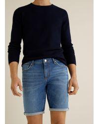 Mango - Faded Dark Wash Denim Bermuda Shorts - Lyst
