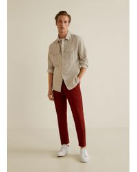 Mango - Pleated Linen Trousers - Lyst