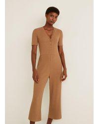 18fdfdbfb16 Lyst - Mango Striped Cotton Jumpsuit