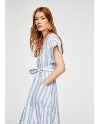 Mango | Striped Linen Dress | Lyst