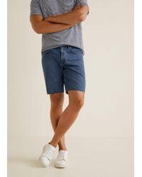 Mango - Medium Wash Denim Bermuda Shorts - Lyst