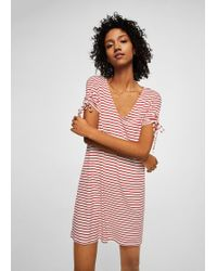 Mango - Stripe Textured Dress - Lyst