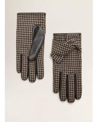 Mango - Houndstooth Pattern Gloves - Lyst