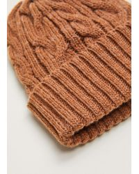 Mango - Cable-knit Beanie - Lyst
