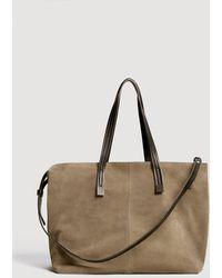 Mango - Leather Shopper Bag - Lyst