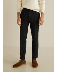 Mango - Striped Cotton Trousers - Lyst