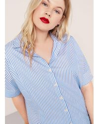 Violeta by Mango - Striped Cotton Shirt - Lyst