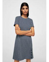 Mango - Buttoned Check Dress - Lyst
