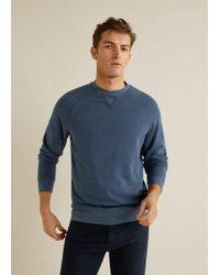 1ee18fcbc Mango Message Cotton Piqué Sweatshirt in Blue for Men - Lyst