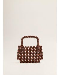Mango - Beaded Wood Handbag - Lyst