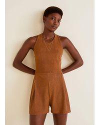 Mango - Textured Knit Jumpsuit - Lyst