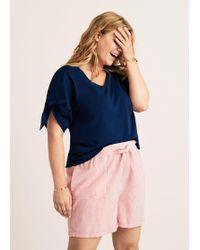 Violeta by Mango - Striped Bow Shorts - Lyst