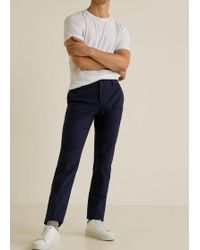 Mango - Checked Structure Slim-fit Trousers - Lyst