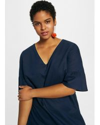 Violeta by Mango - Ribbed Metallic Linen Dress - Lyst