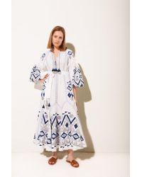 MARCH11 - Kilim Flared Maxi Dress In White - Lyst