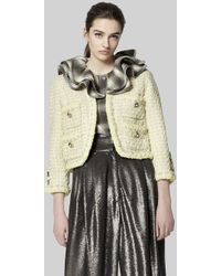 Marc Jacobs - Velvet Trim Metallic Tweed Jacket - Lyst