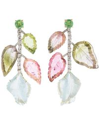 Irene Neuwirth - Carved Tourmaline And Aquamarine Earrings - Lyst